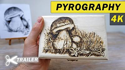 Mushroom Wood Burning on Wooden box [Trailer] 🎬