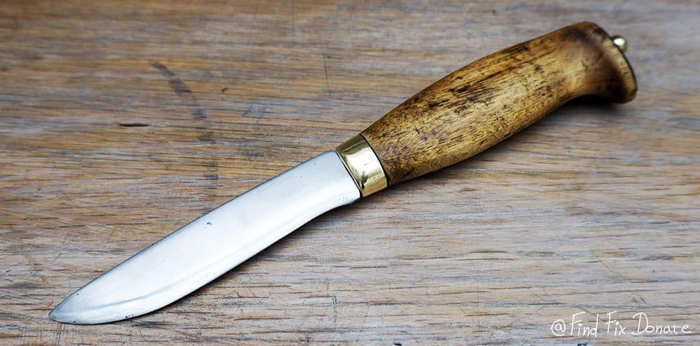 Old Finnish puukko knife after the restoration  -  left side of the knife.
