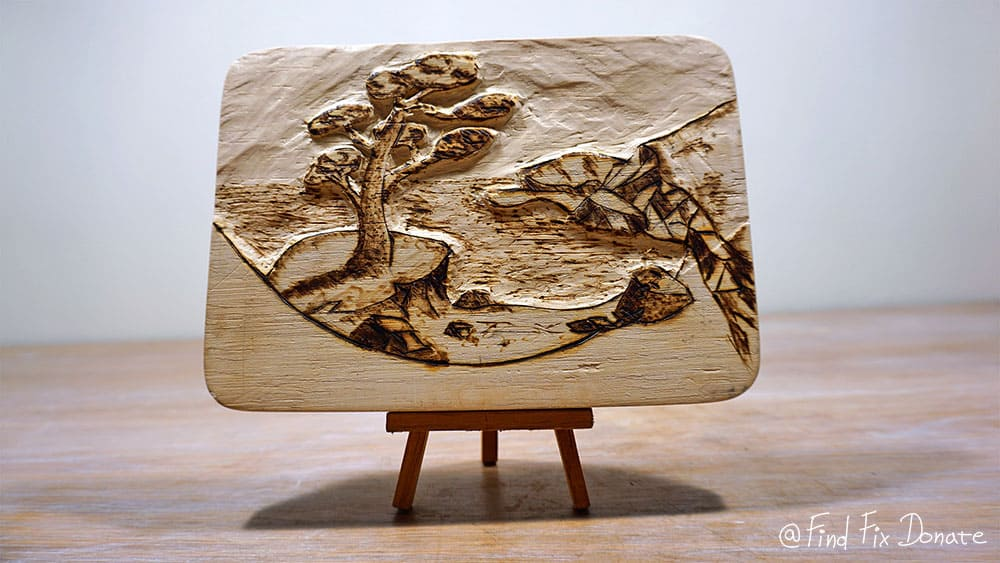Result after wood carving.