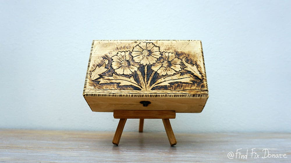 Result after wood burning this wooden box.