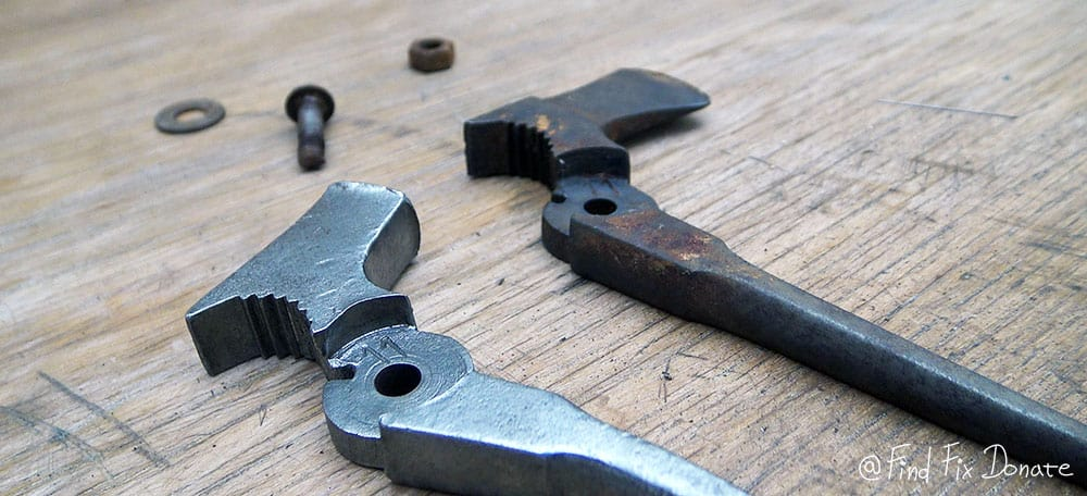 Before and after removing rust with vinegar