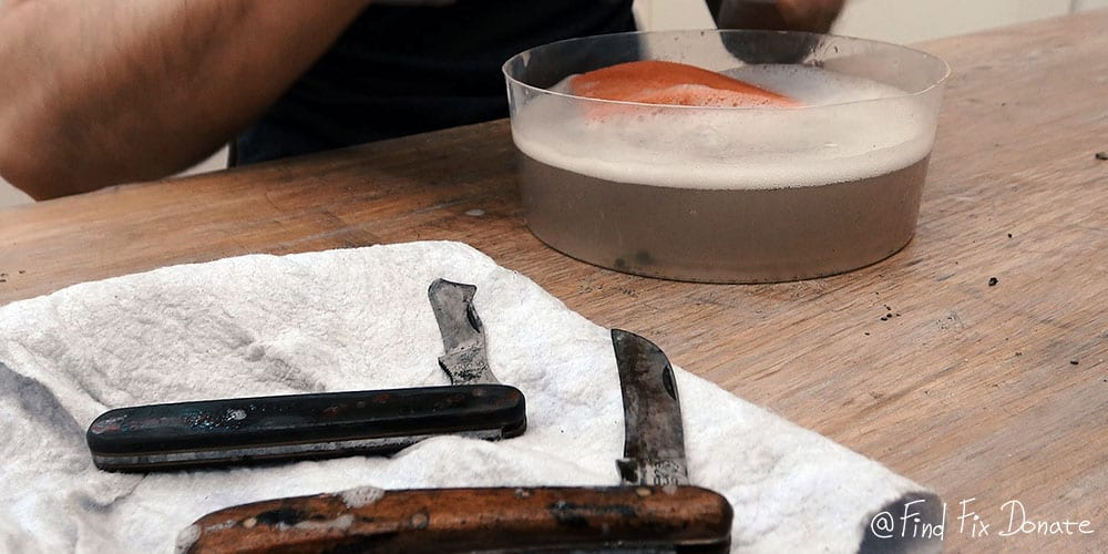 Pocket knives were washed with dish detergent and hot water.