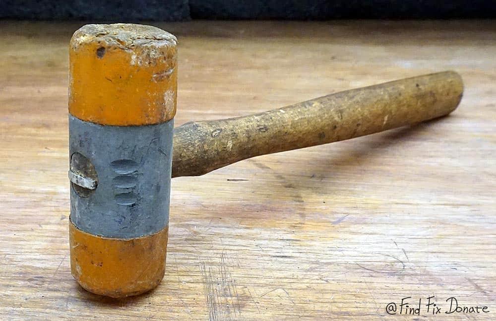 Rubber hammer before restoration.