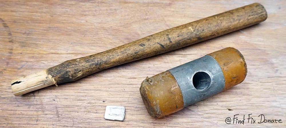 Old rubber hammer disassembled.