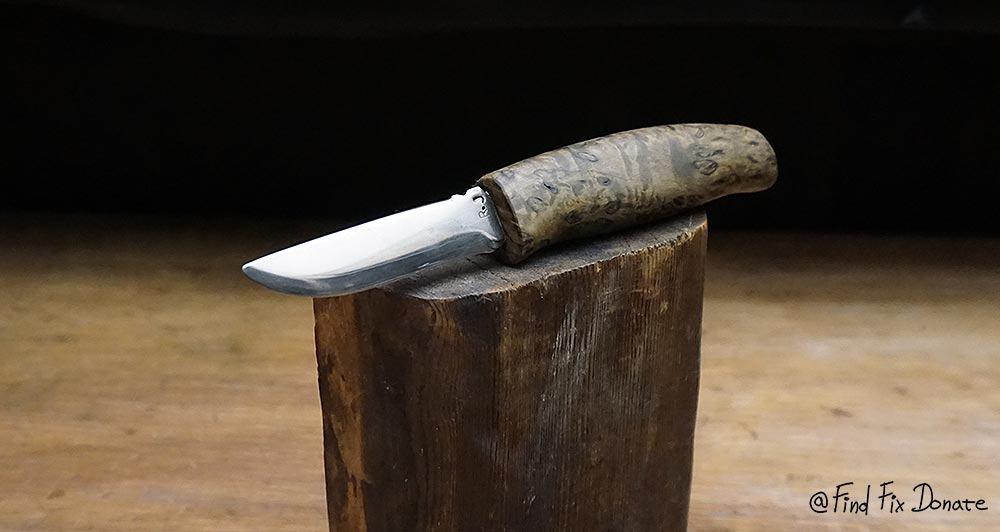 Old handmade knife after restoration.
