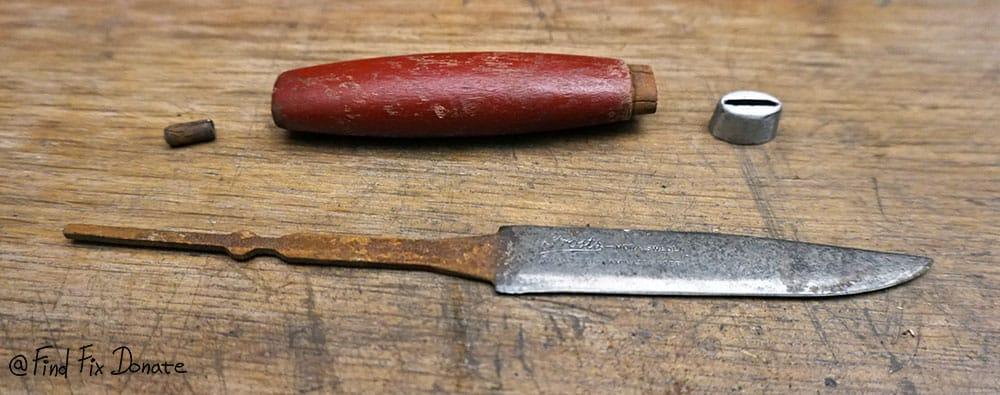 Disassembled Mora knife.