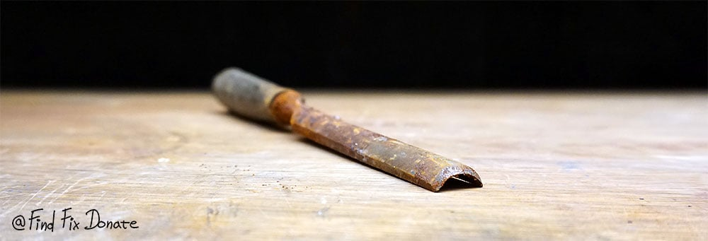 Old half round Swedish chisel before restoration.