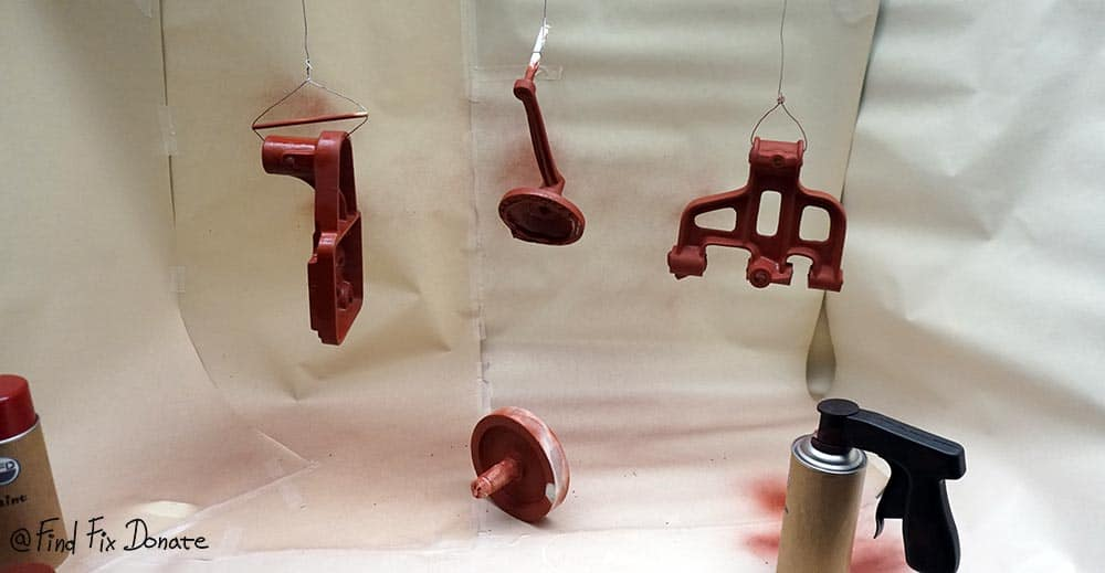 Painting with aerosol and using handy can spray gun.