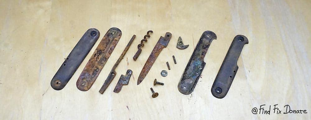 Old broken knife parts after disassembling.