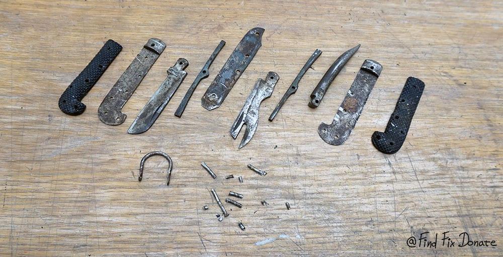 Old pocket knife disassembled.