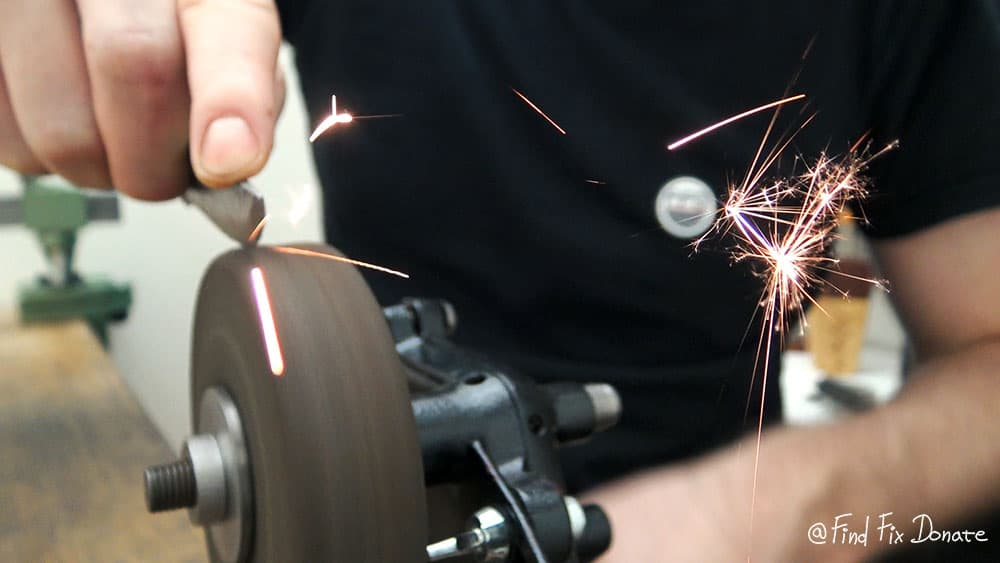 Grinding in action with my hand crank grinder.
