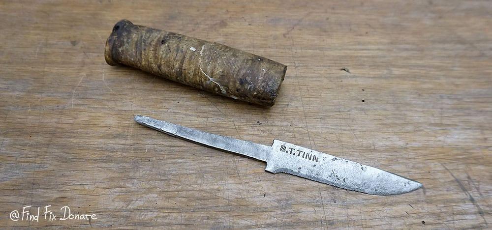Blade is cleaned on steel brush wheel.