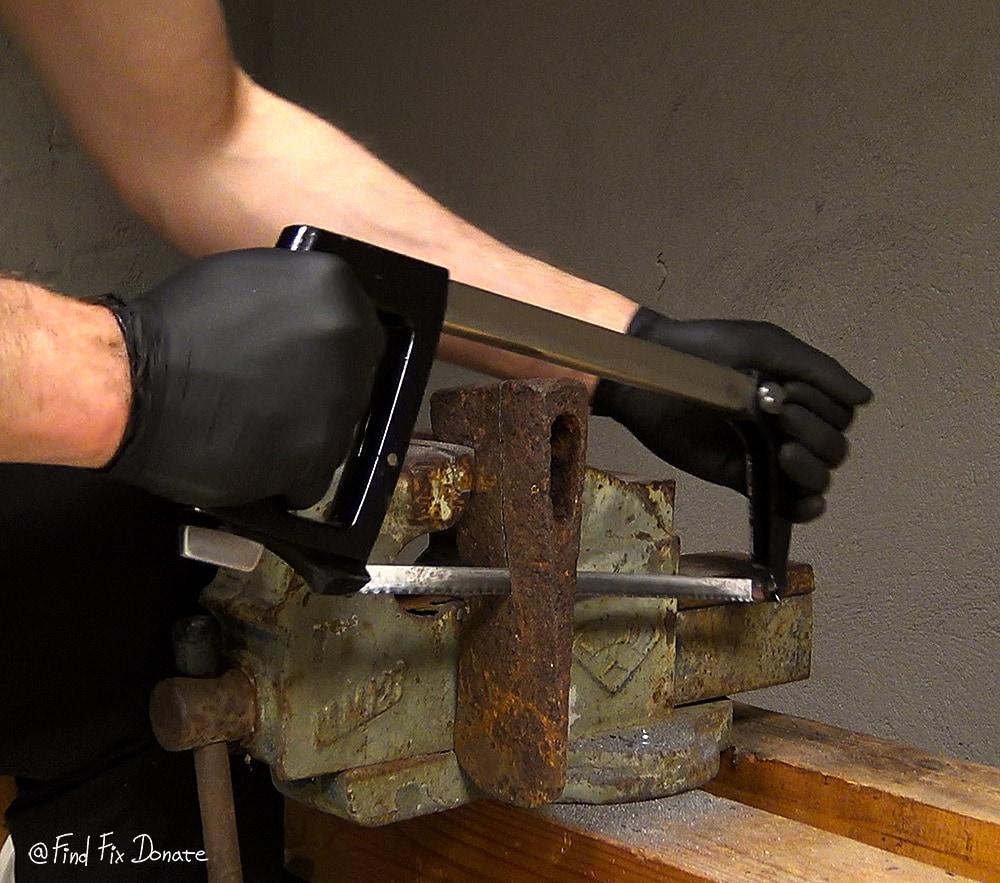Cutting the axe head.