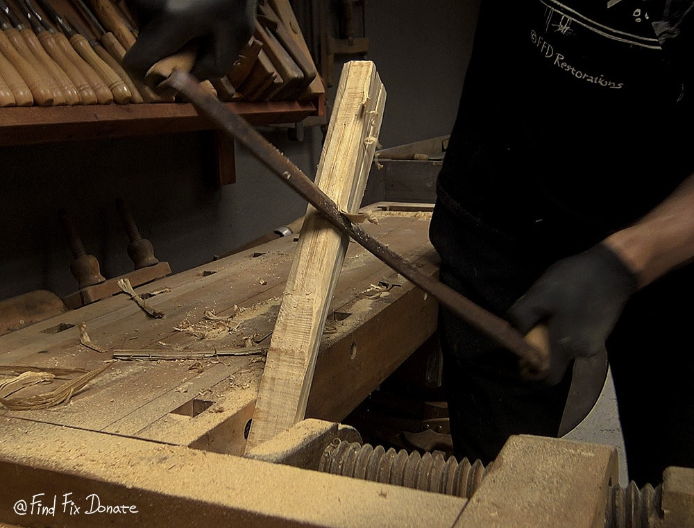 Making the handle from accoya wood for the rusty axe head