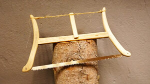 Foldable camping bow saw.