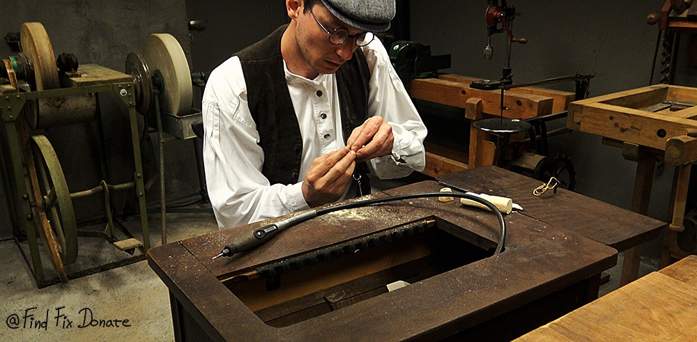I cleaned the edges on a treadle powered rotary tool.