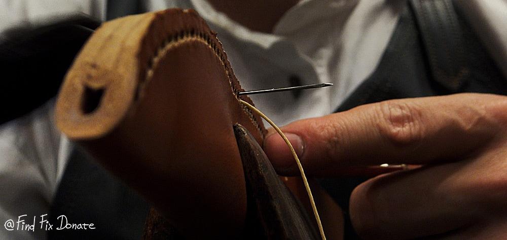 Leather sheath stitching - knife making.