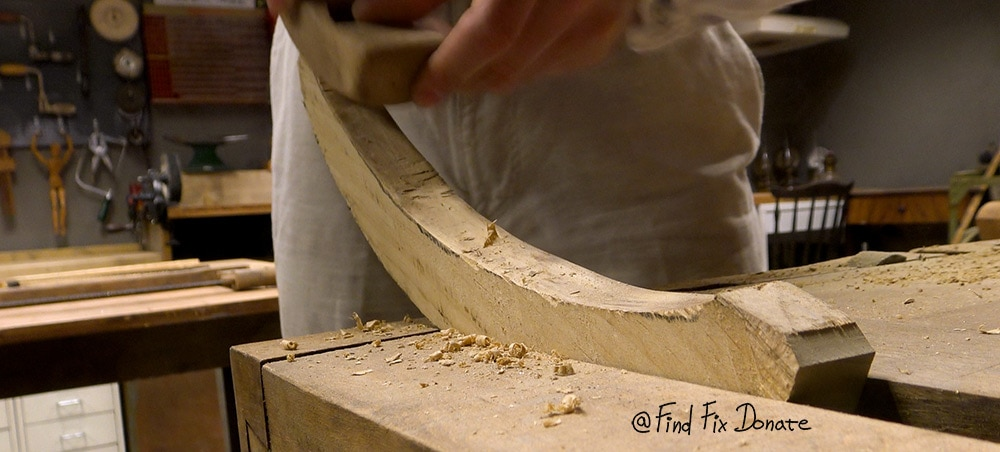 Shaping the handle.